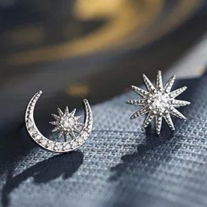 *NEW Sterling Silver Diamond Moon Star Earrings